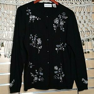 Alfred Dunner black floral embroidery cardigan